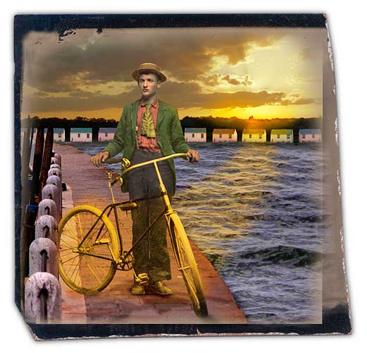 Golden Boy with Bicycle