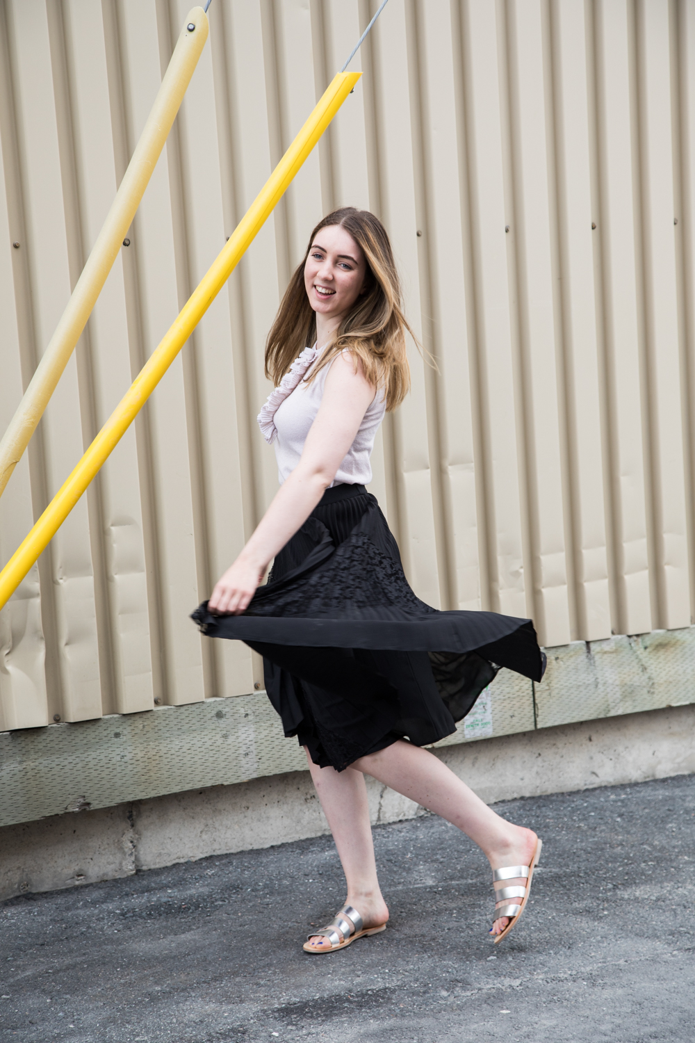 Black Darling Marigold Skirt and nude Issy Jumper top