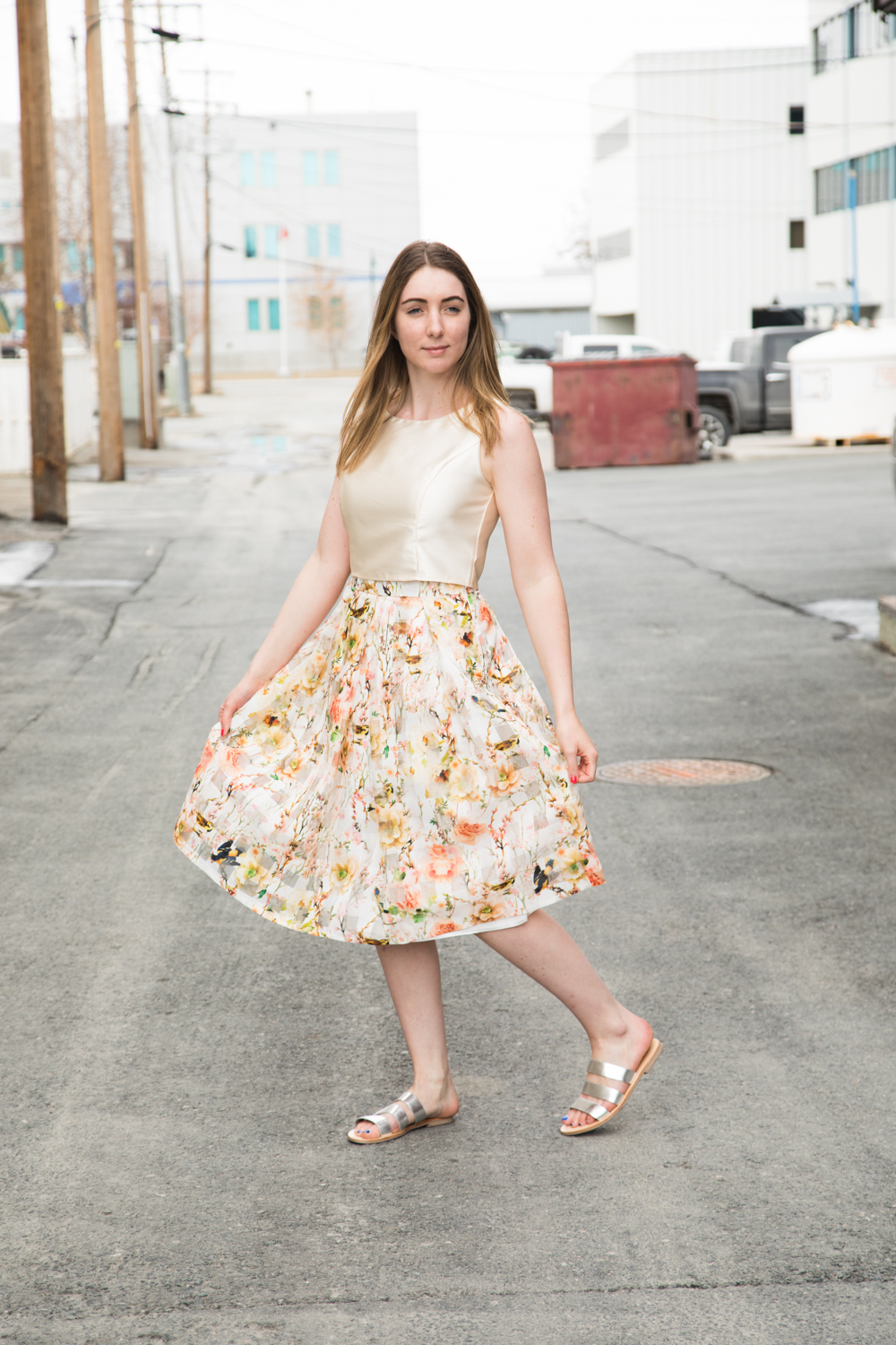 Apricot floral skirt and nude crop top
