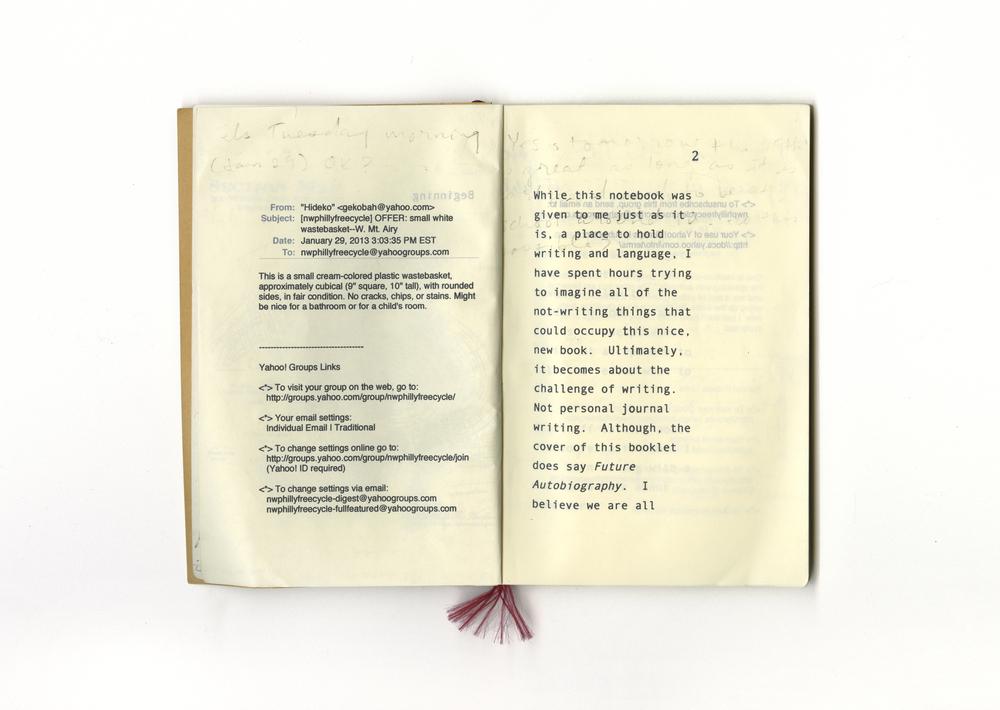 Future Autobiography  Artist book, detail, 2013