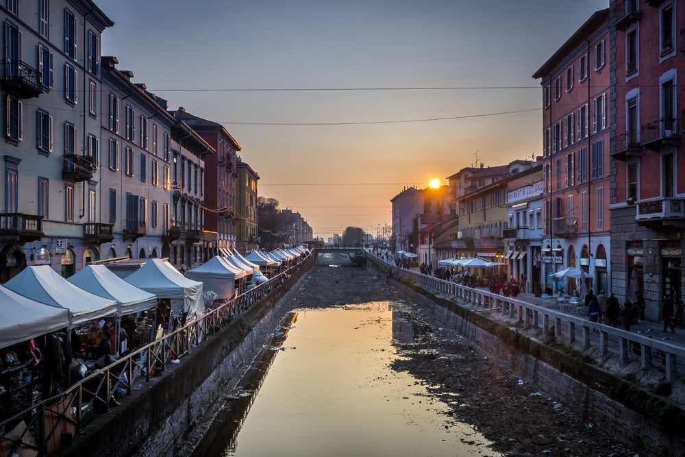 Sunset over Naviglio Grande.