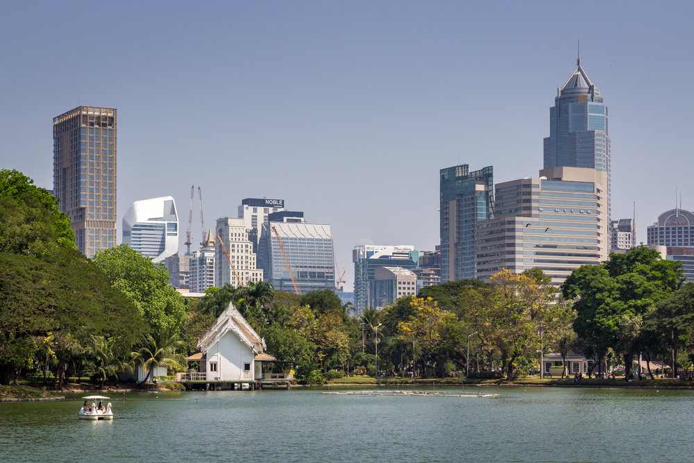 Bangkok Skyline from Lumphini Park