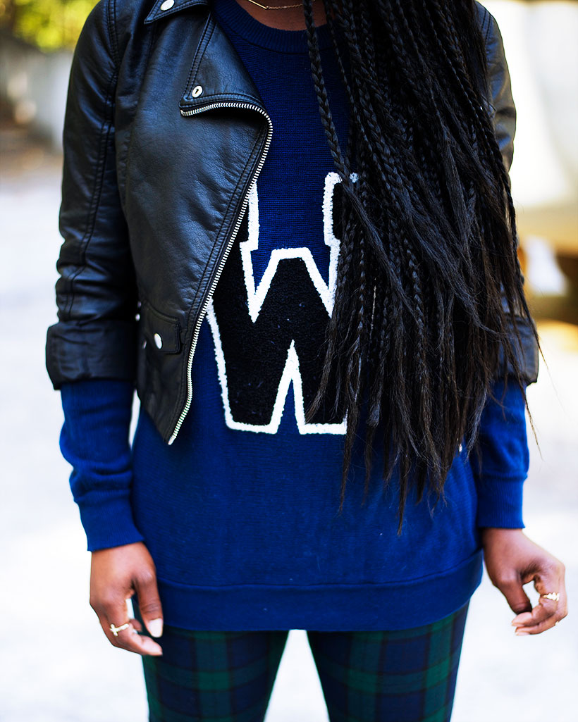 Tasha-James-The-Glossier-Fashion-Style-Beauty-Lifestyle-Blogger-DC-Arlington-Top-Streetstyle-Editorial-Box-Braids-Varsity-Letter-W-Tartan-Pants-Zara-Forever-21-H&M-1