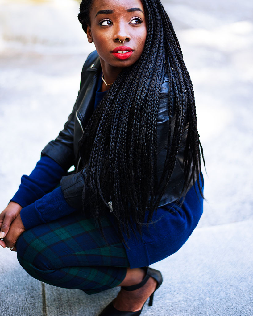 Tasha-James-The-Glossier-Fashion-Style-Beauty-Lifestyle-Blogger-DC-Arlington-Top-Streetstyle-Editorial-Box-Braids-Varsity-Letter-W-Tartan-Pants-Zara-Forever-21-H&M-4