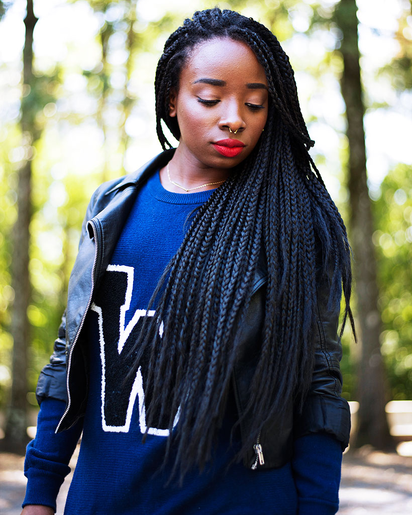 Tasha-James-The-Glossier-Fashion-Style-Beauty-Lifestyle-Blogger-DC-Arlington-Top-Streetstyle-Editorial-Box-Braids-Varsity-Letter-W-Tartan-Pants-Zara-Forever-21-H&M-5