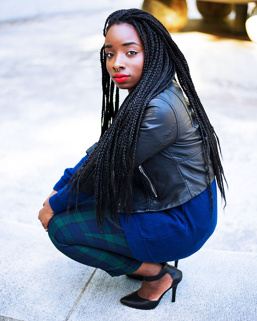 Tasha-James-The-Glossier-Fashion-Style-Beauty-Lifestyle-Blogger-DC-Arlington-Top-Streetstyle-Editorial-Box-Braids-Varsity-Letter-W-Tartan-Pants-Zara-Forever-21-H&M-8
