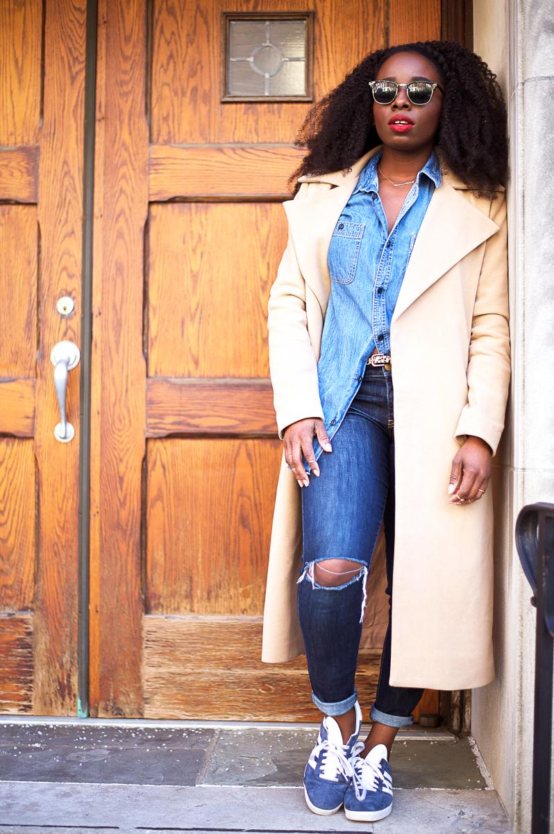 The-Glossier-Tasha-James-Top-Fashion-Blogger-Camel-Coat-Missguided-Denim-Canadian-Tuxedo-Gap-Adidas-Monochrome-1