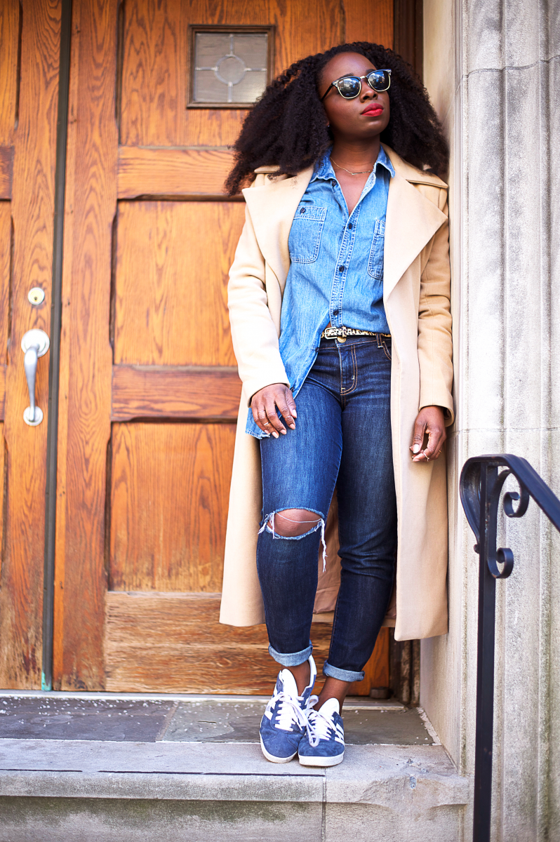 The-Glossier-Tasha-James-Top-Fashion-Blogger-Camel-Coat-Missguided-Denim-Canadian-Tuxedo-Gap-Adidas-Monochrome-3