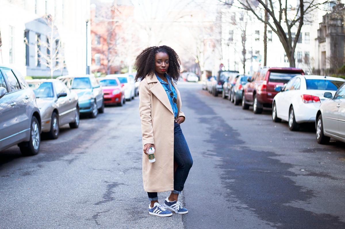 The-Glossier-Tasha-James-Top-Fashion-Blogger-Camel-Coat-Missguided-Denim-Canadian-Tuxedo-Gap-Adidas-Monochrome-11