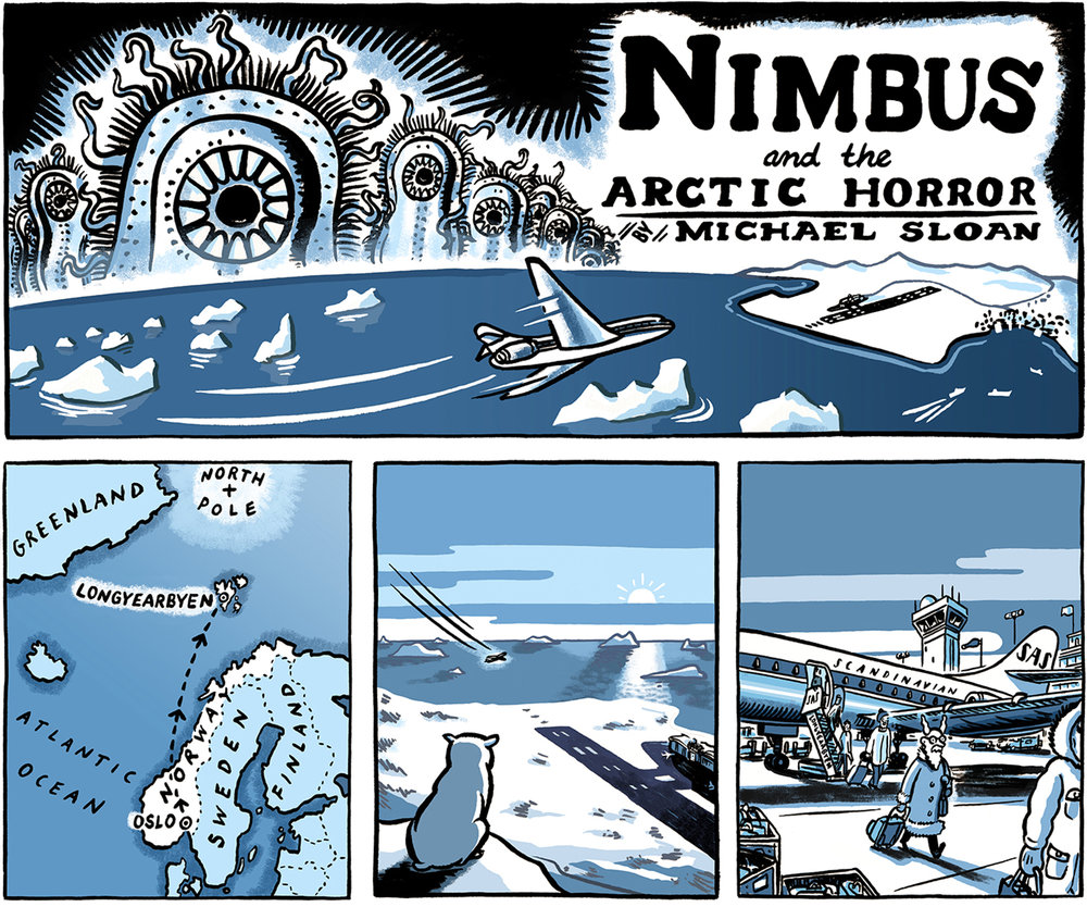Nimbus and the Arctic Horror, panels 1-4.