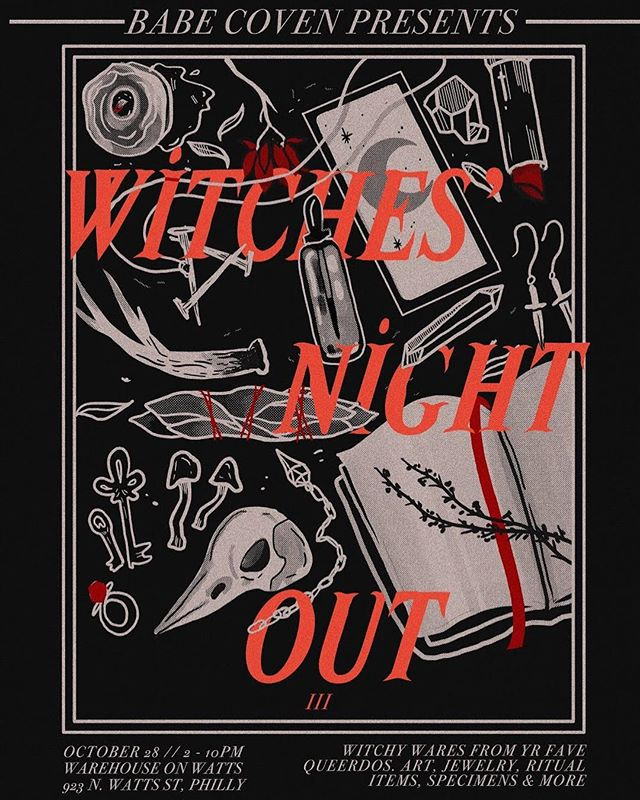 Here it is! The official flyer for the THIRD ANNUAL WITCHES' NIGHT OUT 🖤🌹⚔️ And we have less than three weeks until this magical evening! Join us on October 28th from 2-10 pm at @wowphilly to celebrate the season of the witch with a night of mystical revelry. Shop curated goods from • @antisocialjewelry • @ludlowluna • @whitewitchsilver • @beadfiend • @atenderwitch • @nyxturna • @mercuryhour • @witchywashybath • @cottedemailles • @chasing__wolves • @voodooodolly • @ixdoxdeclare • @burkehareco • @yourgothicgranny • @_hokumwares • @thestrology • @ascalchemical • @magick_alchemy • @hellhoundjewelry • @seaofdoom • @mysticgingerapothecary • @blackcatclothiers • @wicked.queer • @leopardandlaceclothing • @lesquelet • @dylanxvx • @art_is_dirty • @poisonbatchbakery • @epercivaljewelry • @enchantmentsnyc • @moving.wax • @bewitchedboneyard • @outlawheartcollective • @mysticmondays • and more! Keep an eye out for vendor spotlights over the next few weeks, and head to our Facebook page for more event details. Flyer by @the.pink.witch