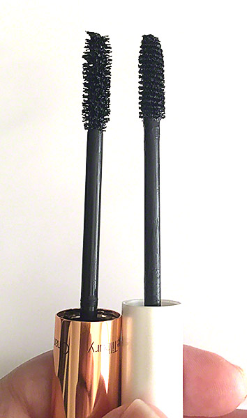 Charlotte Tilbury's Legendary Lashes Mascara brush compared to Mally Beauty's Volumizing Mascara brush