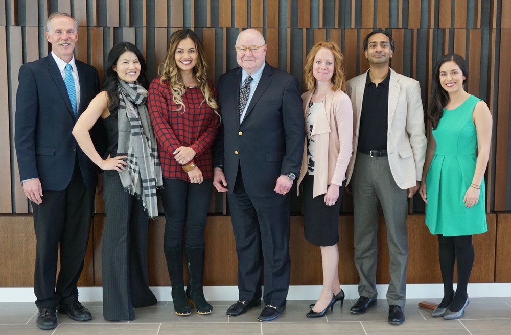Dean Robert Adler, Bar President Angelina Tsu, Sundance counsel Leilani Marshall, Professor Jim Holbrook, Adjunct Professor Stacy Roberts, Karthik Nadesan of Nadesan Beck, and Michelle Kennedy of Kennedy Art & Entertainment Law.