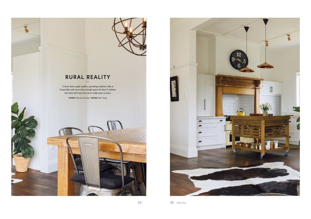 - Renovate Magazine 2017Featuring the Gill Family, who renovated a sprawling run-down villa in Coatesville with a quirky French country meets industrial style.Words by Holly Jean BrookerPhotography by Alice Veysey