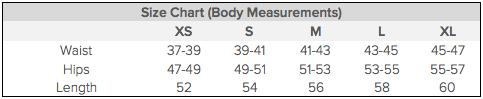 For body measurements on the borderline of two sizes, please choose the lower size for a tighter fit or alternatively the higher size for a looser fit.