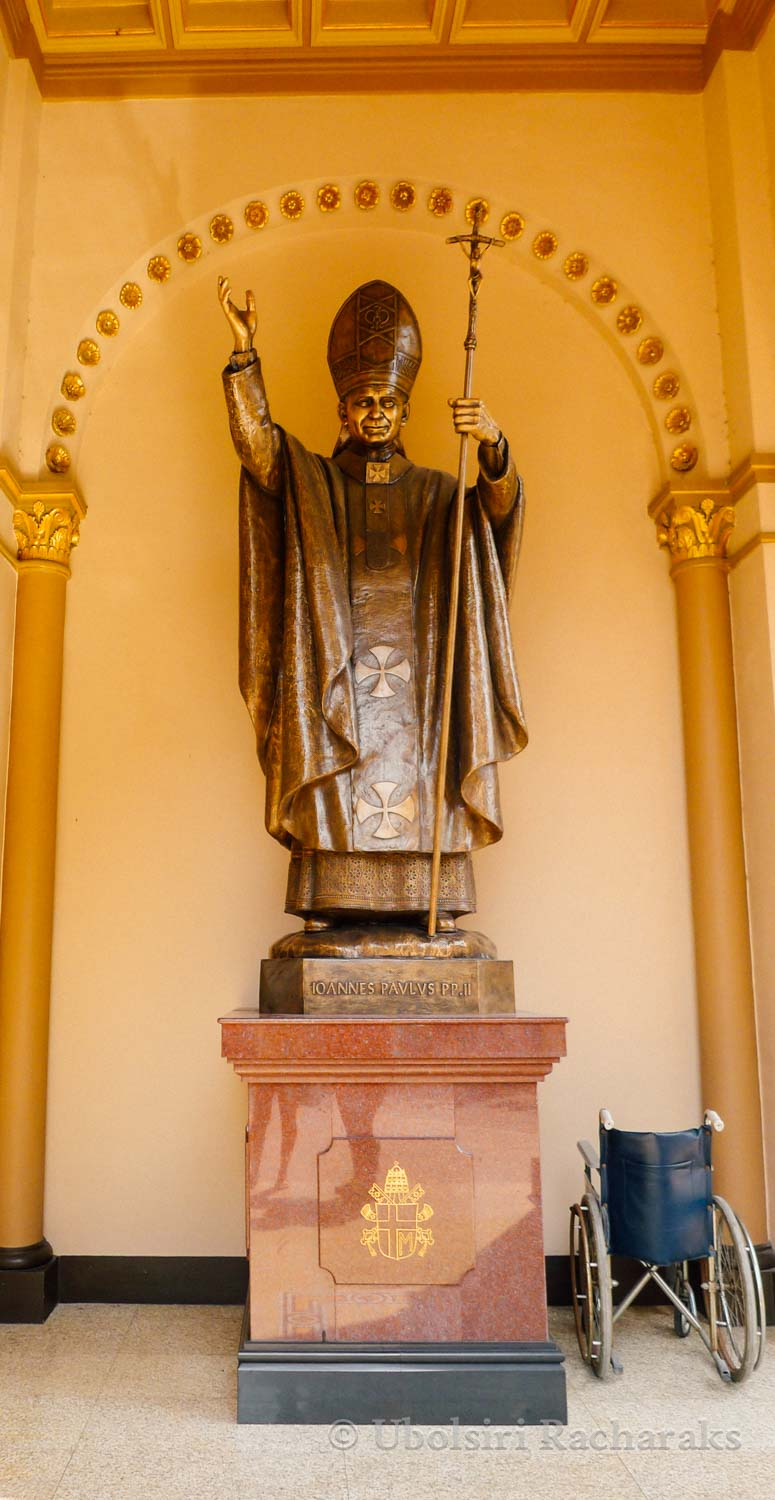 Statue of Pope John Paul II at Assumption Cathedral, Bangkok, Th