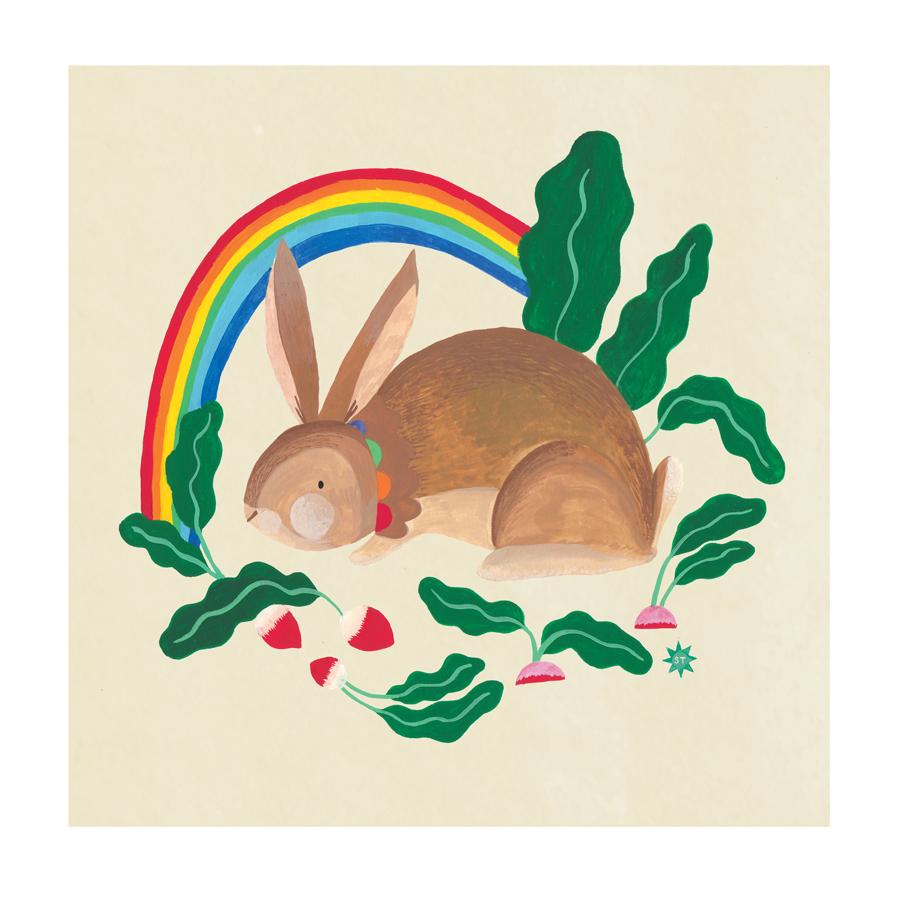 Rainbow. Rabbit. Radishes.
