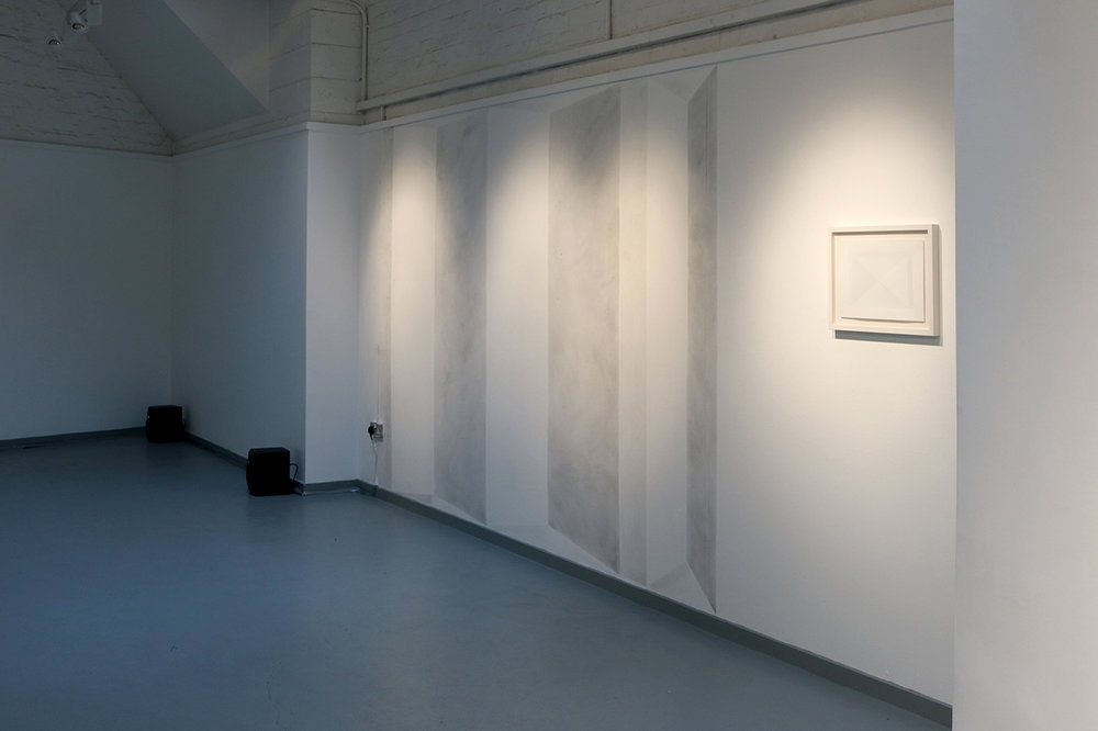 View of 'Folded', charcoal wall drawing & 'Diagonal folds', 2014