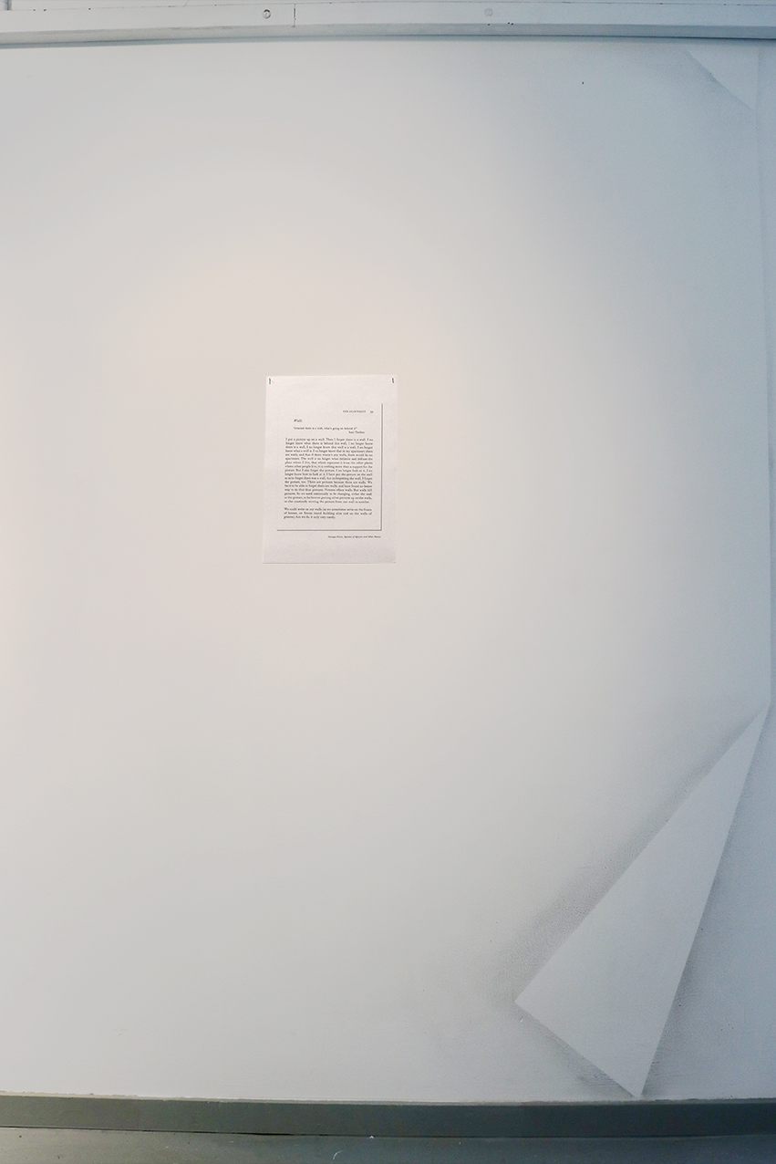 Parallel text, 'Walls' by Georges Perec, and charcoal wall drawing