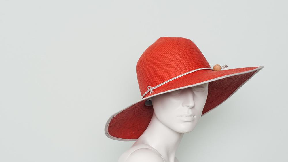 Folding panama sun hat (tomato)