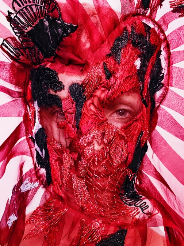 Embroidered silk organza mask in collaboration with artist Scott Ramsey Kyle
