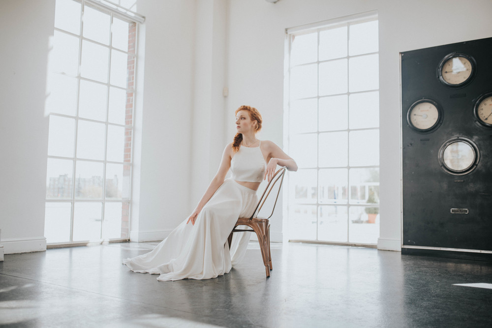 Red headed model in bridal Urban Chic wedding Styled Shoot- West Reservoir Centre