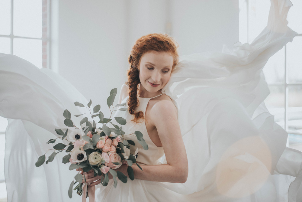 Beautiful red head model bridal portrait Urban Chic Styled Shoot- West Reservoir Centre
