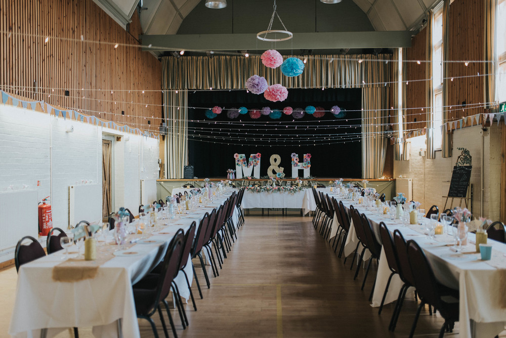 colourful hertfordshire wedding Tewin memorial hall