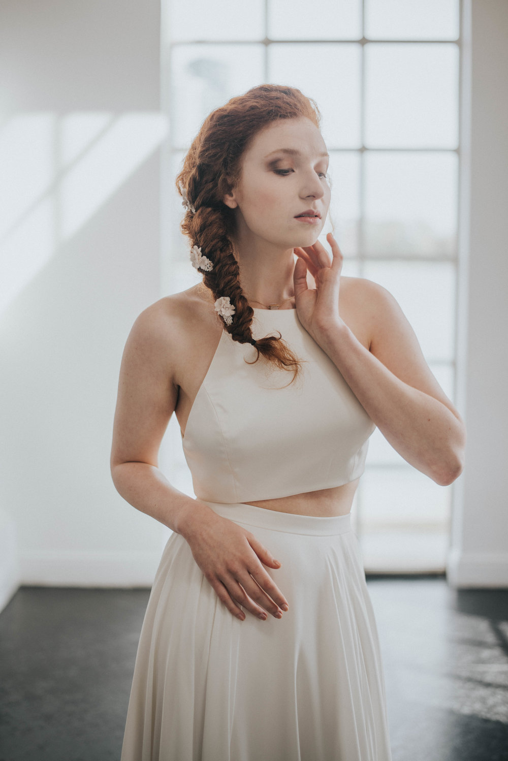 beautiful redheaded model Urban Chic wedding Styled Shoot- West Reservoir Centre Creative wedding photography