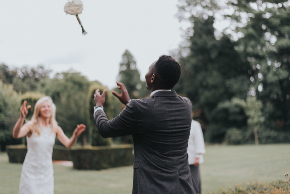 Bouquet catch at small London wedding