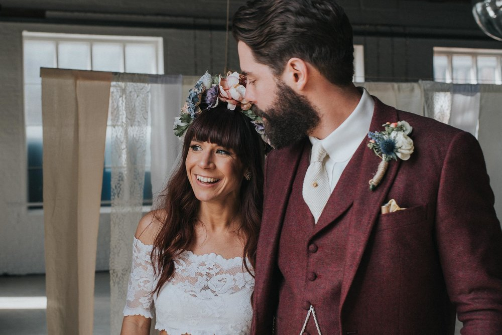 Bride wearing a pastel flower crown at her creative boho london wedding  www.baiandelle.com