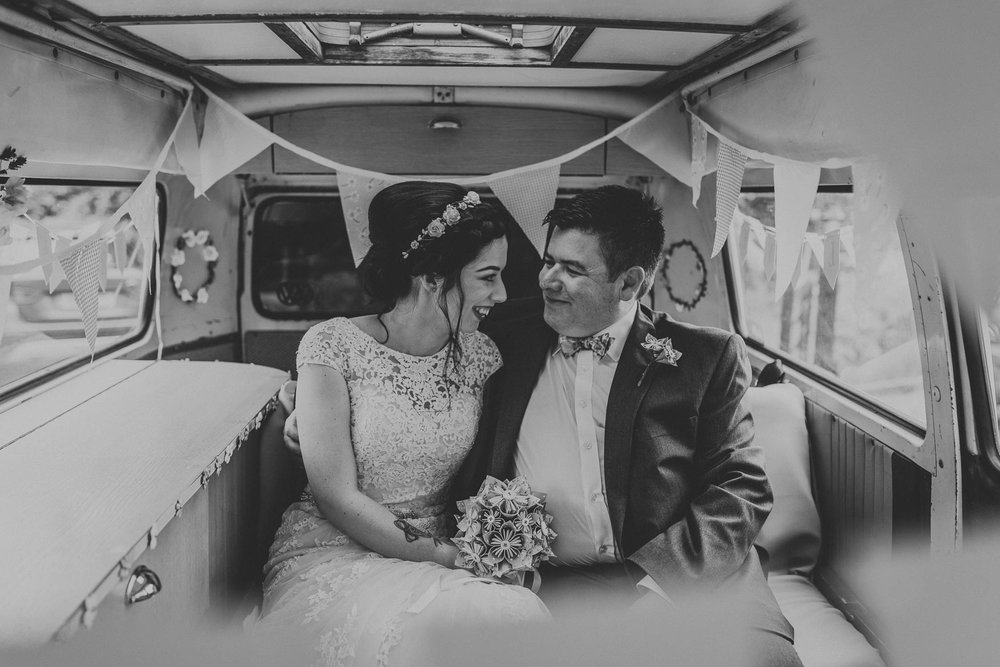 Bride and Father of the bride in VW camper van| Alternative Hertfordshire wedding photography.  www.baiandelle.com