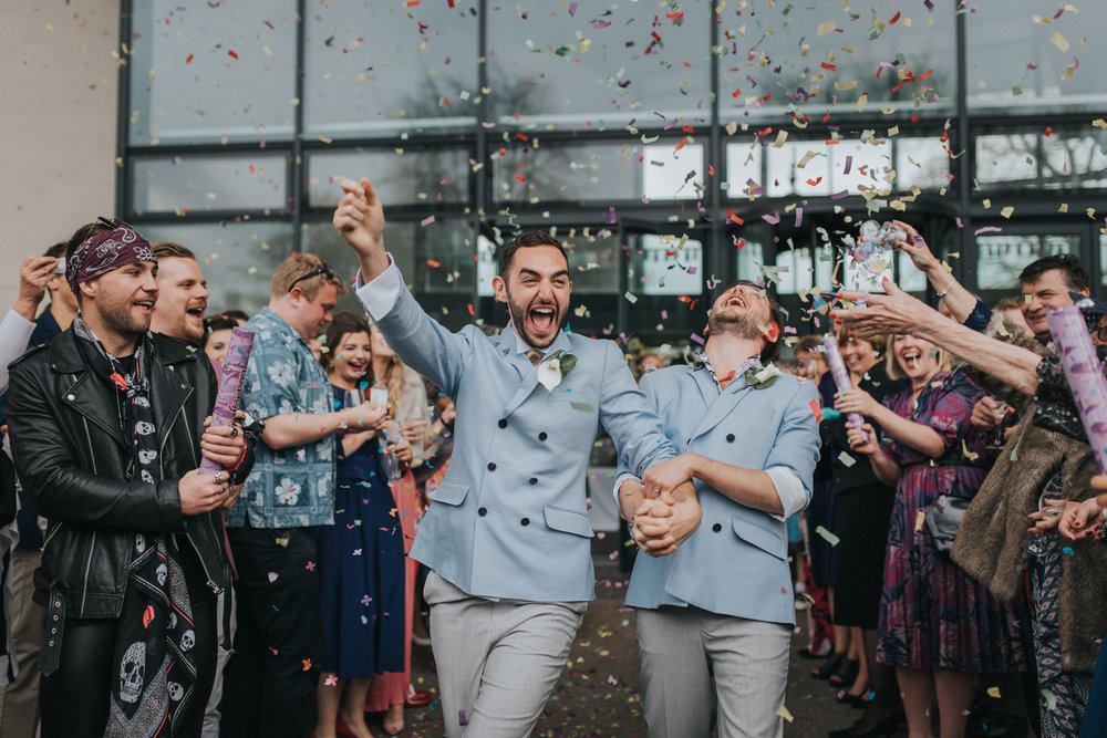 Alternative same sex couple confetti run | Creative London wedding photography  www.baiandelle.com