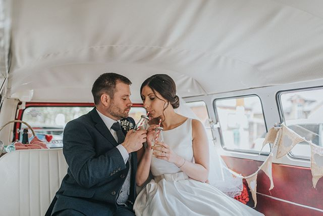 Here's a little bit of sweetness to help brighten your Thursday morning! Emily & Simon sharing their first sips of champagne as husband and wife!
