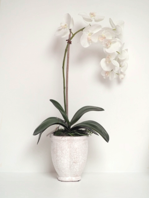 Faux Orchid with White Ceramic Base. The Perfect Decorative Piece.