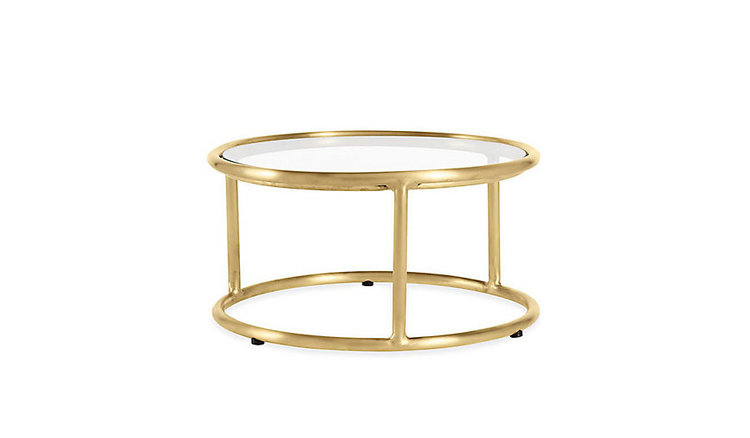 Walter Lamb Side Table  with unfinished brass (at DWR). Start out glam then enjoy the patina of time.