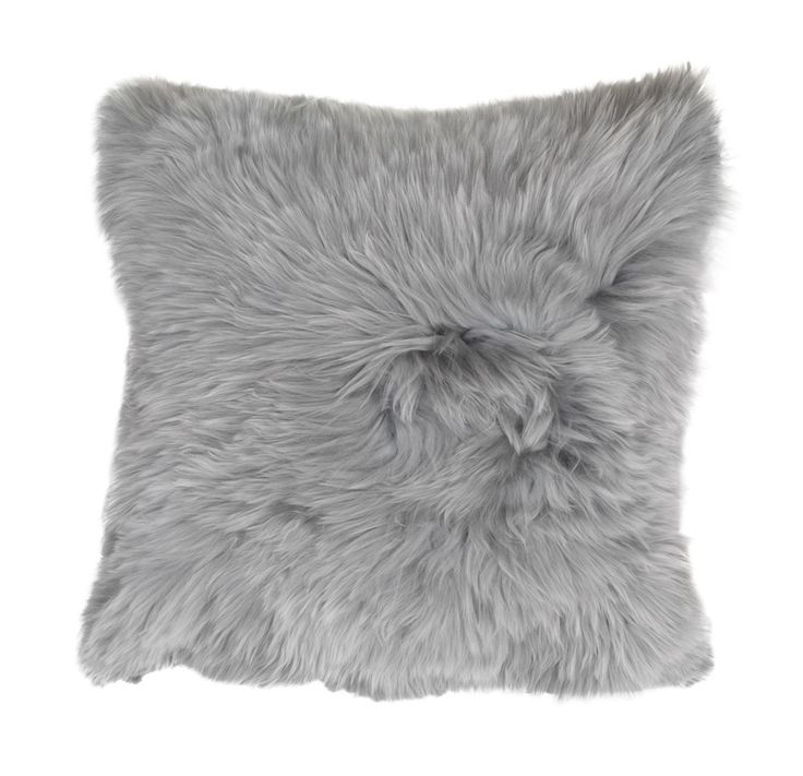 The classic shaggy (long-haired) pillow, this one from Mitchell Gold Bob Williams and shown in silver.  via  mgbwhome.com