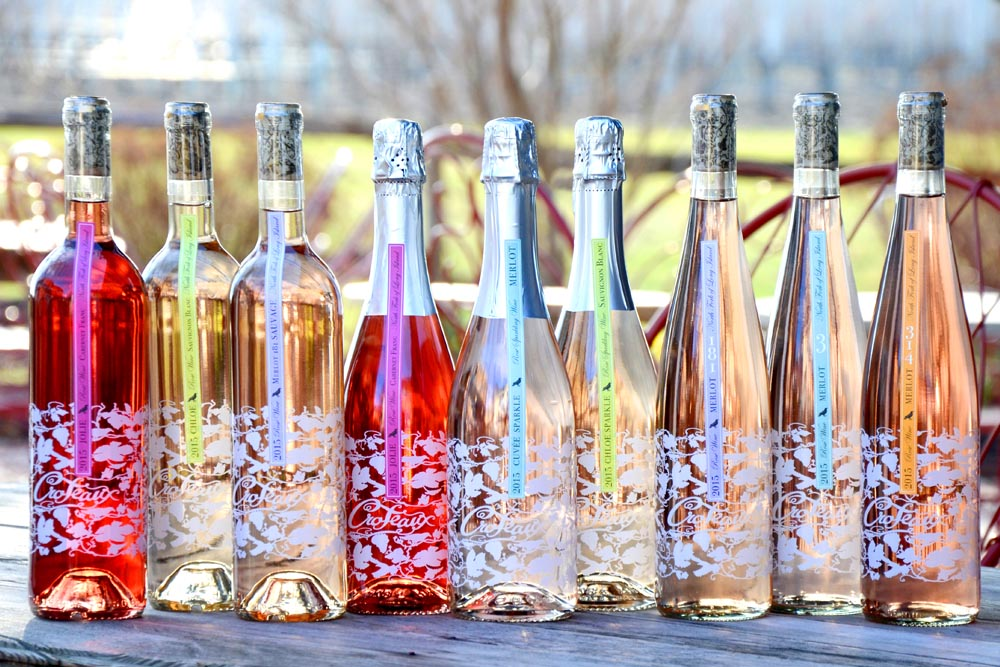 Wines from  Croteaux , a rose only vineyard in Southold, NY