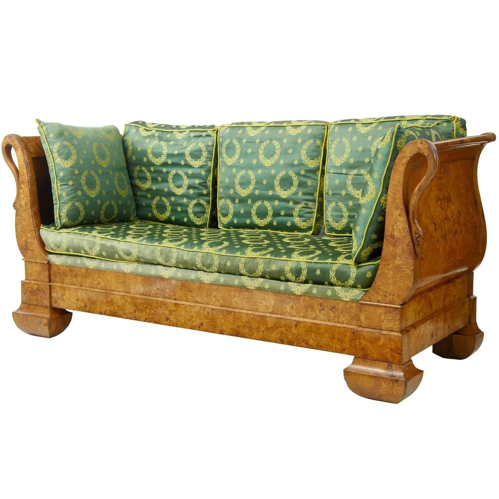 A carved 19th Century daybed from Sweden