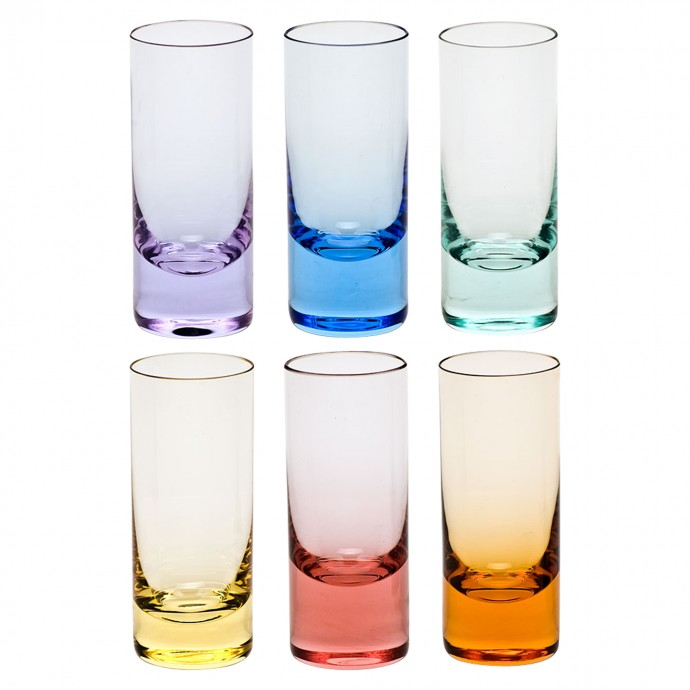 Bring beautiful color to a vodka tasting.  Multi-colored vodka glasses from Moser via Jung Lee NY.  These double as lovely bud vases.