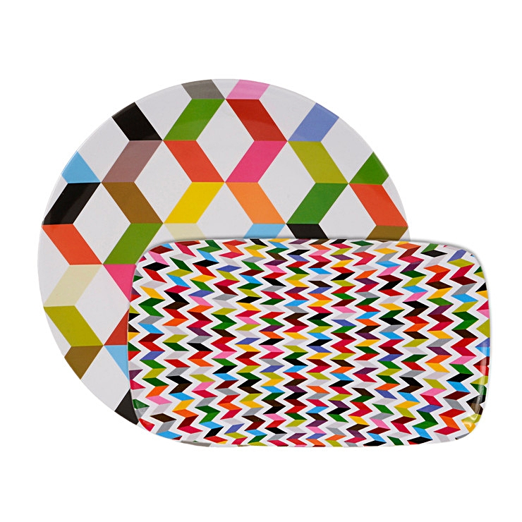 Bright, high energy, colorful platters platters scream summer.  Set of 2, Ziggy Platters by French Bull.