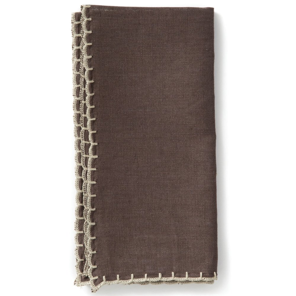 Whipstitch Chocolate Linen from  Vietri