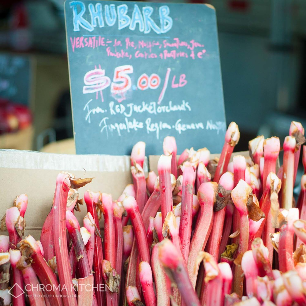 Mad Lovely Rhubarb from Red Jacket Orchards at the McCarren Park Greenmarket    Image by Mary Allen, Chroma Kitchen