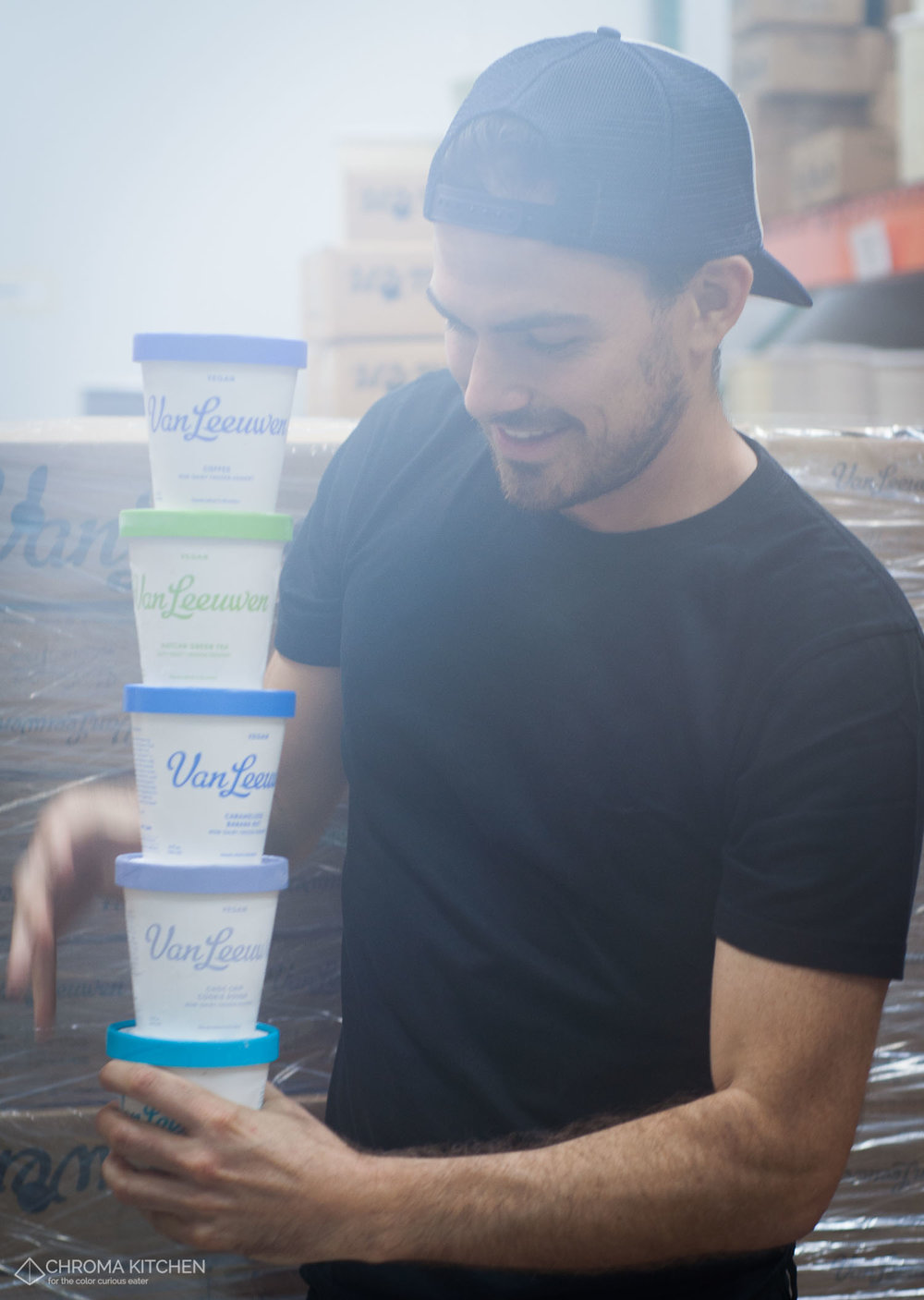 Van Leeuwen's new vegan pints on display in the walk-in freezer
