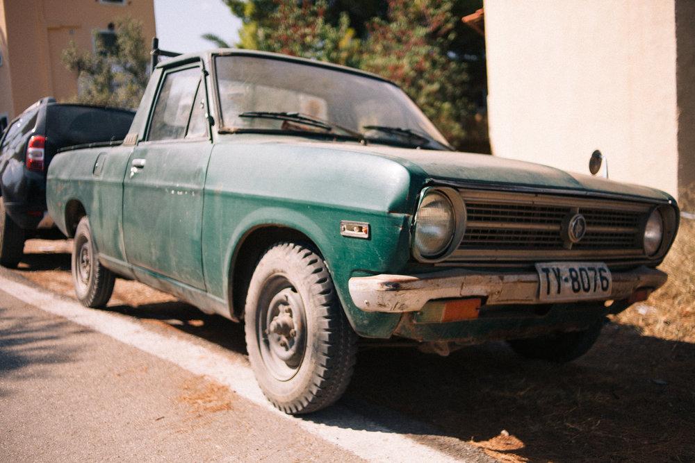 A Datsun pickup on Agistri