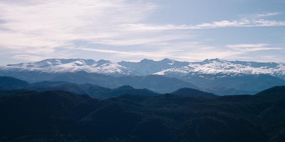 View of the Sierra Nevada from Peñón de la Mata