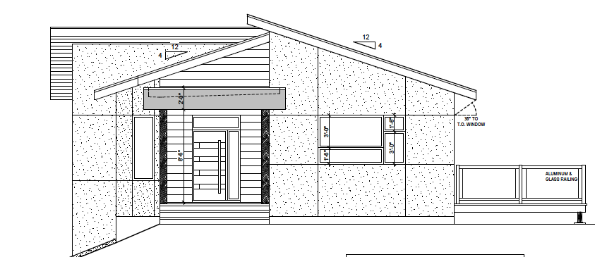 West elevation: walkout basement on the left side, ground-level access for main floor living areas on the right (with deck)
