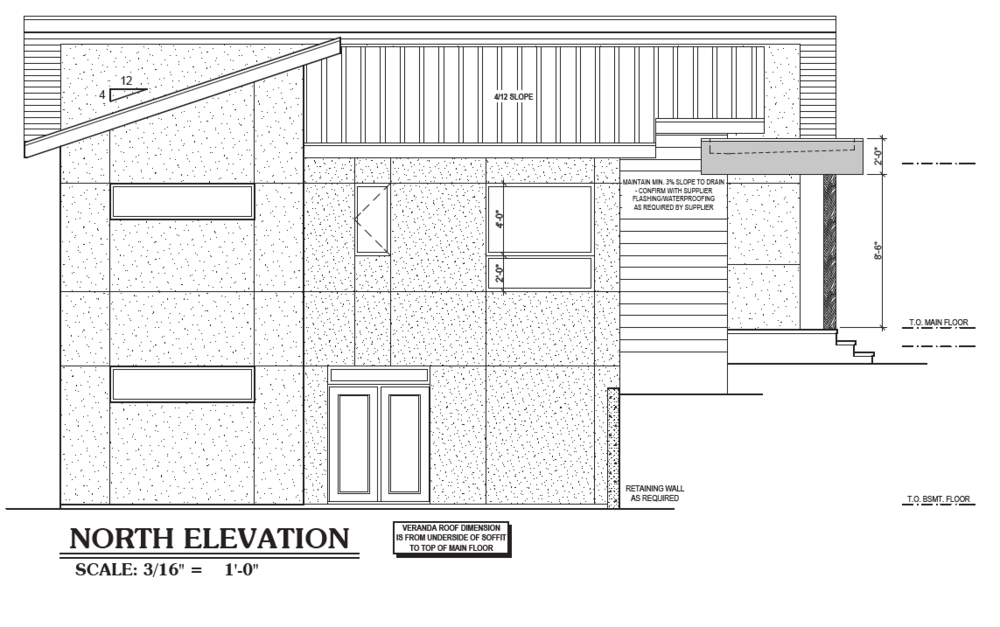 Initial design for north-facing elevation. Adjustments may be needed in order to reduce heat loss through the windows.
