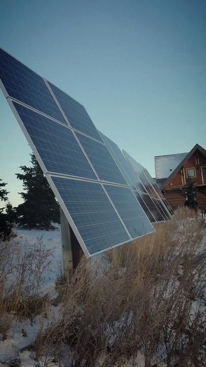 Alberta solar array in wintertime