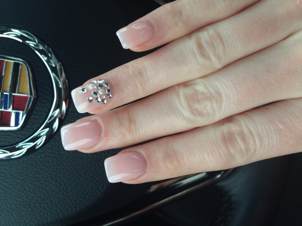 Acrylic nails with jewel detailing